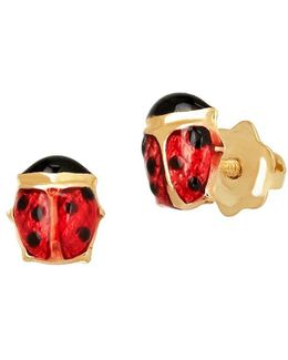 14k Yellow Gold Ladybug Stud Earrings