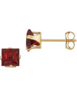 Garnet And 14k Yellow Gold Square Stud Earrings