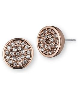 Rose Goldtone Glitz Disc Earrings
