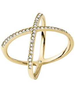 Brilliance Statement Pavé X Ring/goldtone