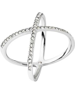 Brilliance Statement Pavé X Ring/silvertone