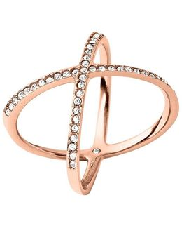 Brilliance Statement Pavé X Ring/rose Goldtone