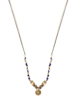 Faceted Bead And Pendant Necklace