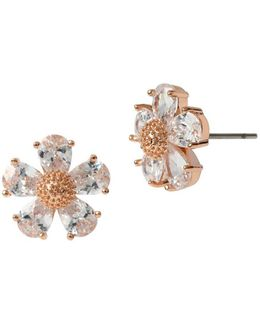 Rose Goldtone And Glitz Flower Earrings