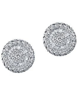 Diamond And 14k White Gold Stud Earrings, 0.99tcw