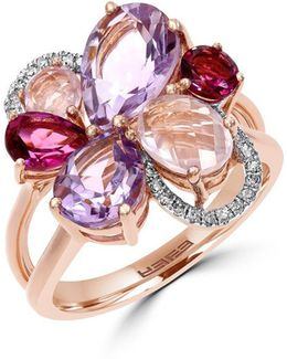 Mosiac Semi-precious, Multi-stone, Diamond And 14k Rose Gold Flower Ring