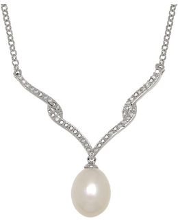 8 Mm White Freshwater Pearl, Diamond And Sterling Silver Necklace