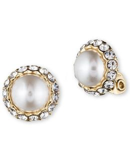 Pearl And Glitz Clip Earrings
