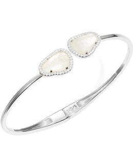 Mother-of-pearl Hinged Bangle Bracelet