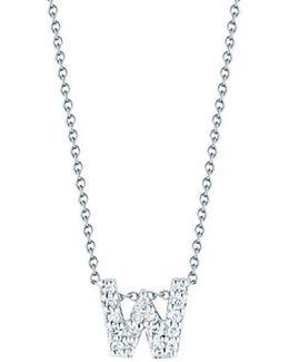 Tiny Treasures Diamond & 18k White Gold Love Letter Pendant Necklace