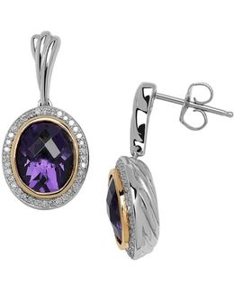 Amethyst Diamond 14k Yellow Gold And Sterling Silver Earrings