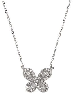 Diamond And 14k White Gold Butterfly Pendant Necklace