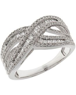 Diamond And 14k White Gold Ring 0.75tcw