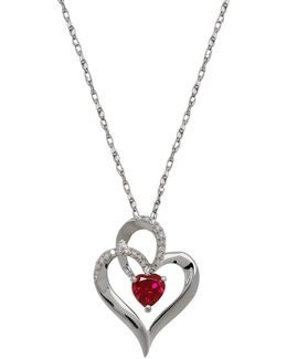 Garnet, Diamond And Sterling Silver Heart Pendant Necklace