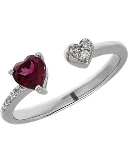 Garnet, Sterling Silver And Diamond Heart Open Ring