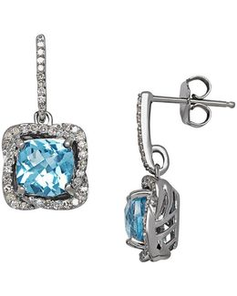 Blue Topaz, Diamond And Sterling Silver Drop Earrings