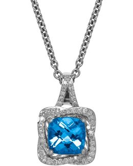 Swiss Blue Topaz, Diamond And Sterling Silver Pendant Necklace