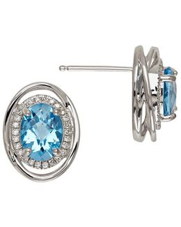 Blue Topaz And Sterling Silver Stud Earrings