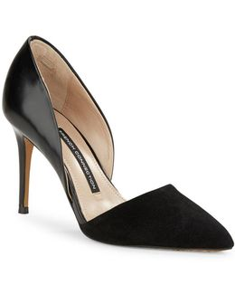 Elvia Leather & Suede D'orsay Pumps
