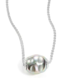 14mm Silver Pearl And Sterling Silver Necklace- 16 In.