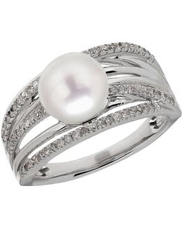 8 White Freshwater Pearl, Diamond And Sterling Silver Ring