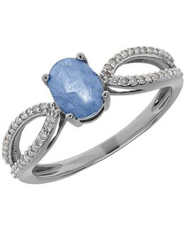 Light Blue Sapphire, Diamond And 14k White Gold Ring