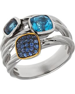 Multi-color Topaz, Sterling Silver And 14k Yellow Gold Ring