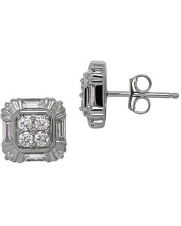 Diamond And 14k White Gold Square Stud Earrings, 0.6tcw