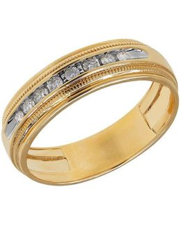 Channel-set Diamond And 14k Yellow Gold Ring