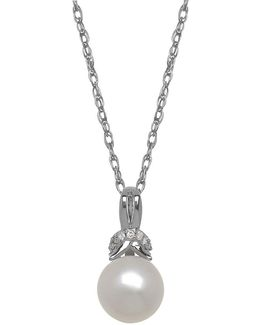 7mm White Freshwater Pearl, Diamond And 14k White Gold Pendant Necklace