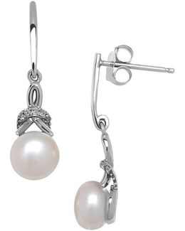 6mm White Freshwater Pearl, Diamond And 14k White Gold Drop Earrings