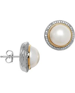 11mm White Pearl, Diamond And 14k Yellow Gold Stud Earrings
