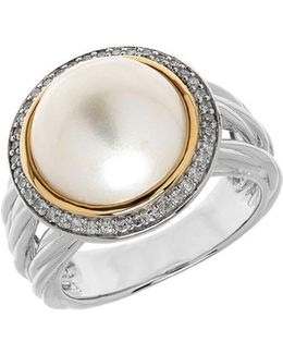 11mm White Freshwater Pearl, Sterling Silver And 14k Yellow Gold Ring