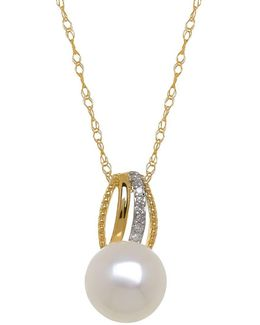 9mm White Freshwater Pearl, Diamond And 14k Yellow Gold Pendant Necklace