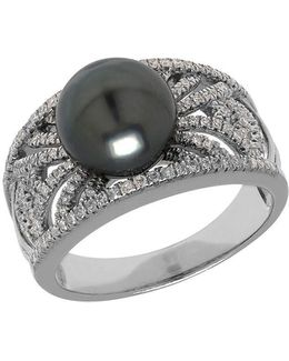 Tahitian Pearl, Diamond And 14k White Gold Ring