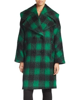 Double-breasted Plaid Coat