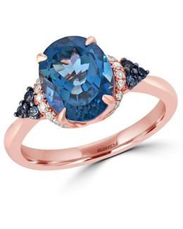 Ocean Bleu London Blue Topaz, Diamond & 14k Rose Gold Ring