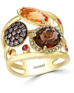 Mosaic Diamond, Semi-precious, Multi-stone And 14k Yellow Gold Ring