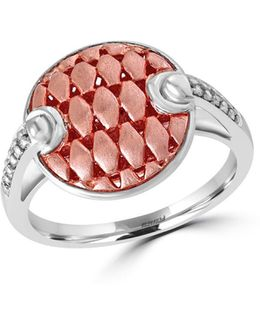 Two-tone 925 Sterling Silver And Diamond Button Ring