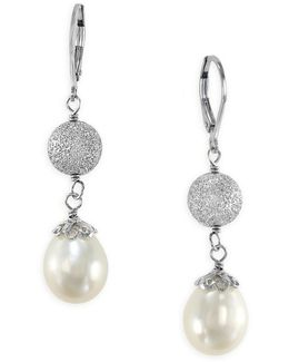 Pearl Lace Oval Freshwater Pearl And Sterling Silver Drop Earrings