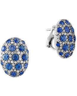 925 Sterling Silver And Bicolor Sapphire Button Earrings