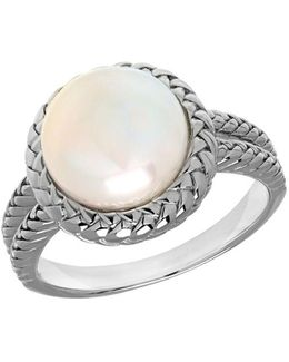 10mm White Freshwater Pearl And Sterling Silver Ring