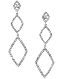 Geo Diamond And 14k White Gold Drop Earrings