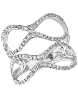 Pave Classica Diamond And 14k White Gold Double Ring