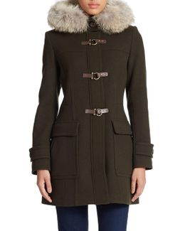 Coyote Fur-lined Hooded Toggle Coat