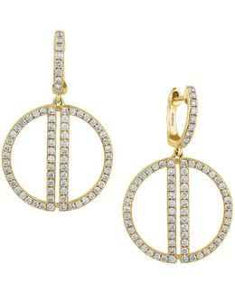 Diamond & 14k Yellow Gold Circle Drop Earrings