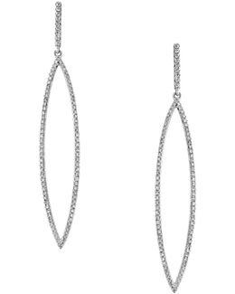Diamond And 14k White Gold Drop Earrings