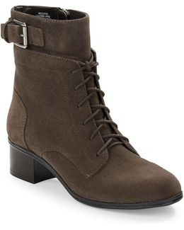 Cloviis Suede Lace-up Booties