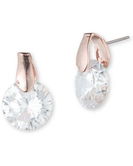 Cubic Zirconia Postback Stud Earrings