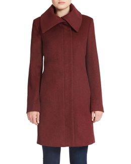 Fold-over Collar Wool-blend Coat